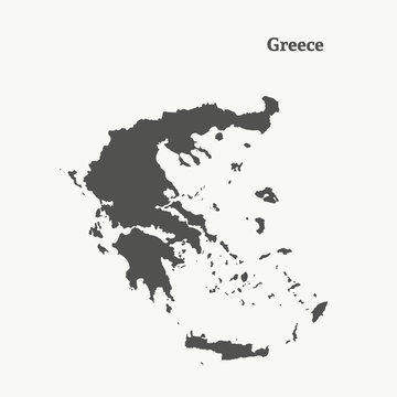 Outline map of Greece.  vector illustration.