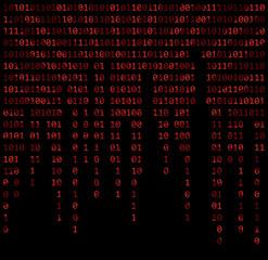 binary code zero one matrix red background beautiful banner wallpaper