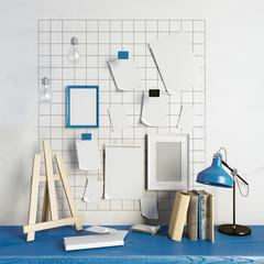 3d illustration, workplace.  loft style.