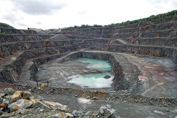 View into a quarry mine of porphyry rock