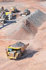 View into a quarry mine of porphyry rock