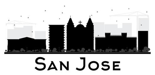 San Jose City skyline black and white silhouette.