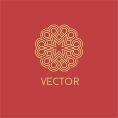 Luxury vector logo. Linear emblem
