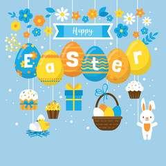 Easter holiday banner design with eggs decorations and flowers