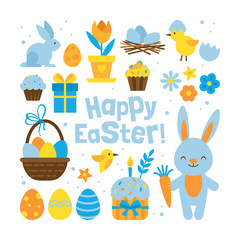 Easter holiday concept with set elements for graphic and web design on white background