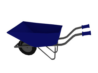 Blue Wheelbarrow (low poly 3d render)