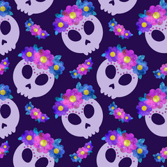 Seamless pattern with Frida skull with flowers