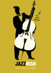 Double bass player playing a song. Musical note
