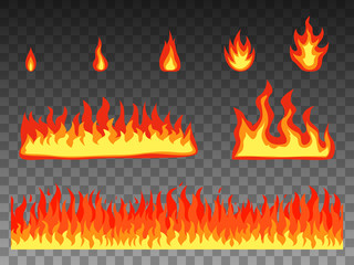 Vector illustration set flat cartoon fire flame