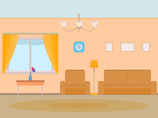 Vector illustration cartoon background living room