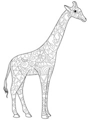 Giraffe coloring book for adults vector illustration