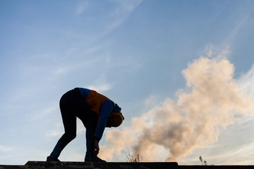 jogger preparing for running in polluted area