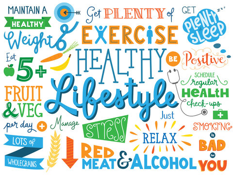 HEALTHY LIFESTYLE Vector Hand Lettering Poster