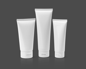blank packaging cosmetic tube isolated on gray background