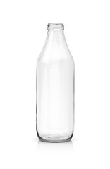 blank packaging transparent glass bottle for beverage product isolated on white background