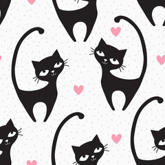 seamless black cat pattern vector illustration