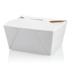 Closed White Unlabeled Cardboard Food Box