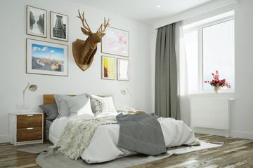 Schlafzimmer mit Hirsch an Wand über Bett