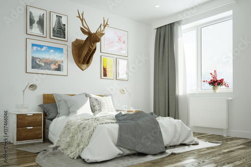 schlafzimmer mit hirsch an wand ber bett stockfotos und. Black Bedroom Furniture Sets. Home Design Ideas