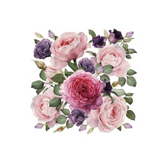 Greeting card with roses, watercolor, can be used as invitation card for wedding, birthday and other holiday and  summer background.