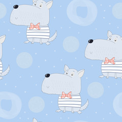Cute seamless pattern with funny dog.