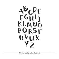 Calligraphic font. Handwritten alphabet in brush style.