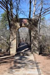 Historic swinging bridge in Tishomingo State Park Mississippi