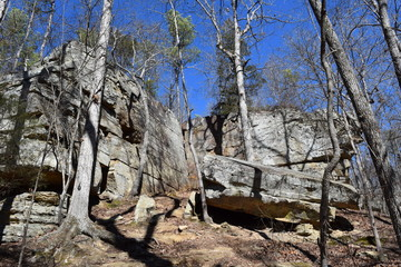 Rock outcroppings in Tishomingo State Park Mississippi