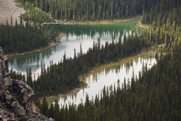 Two small alpine lakes viewed from above; British Columbia, Canada