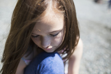 A young girl in contemplation; Victoria, British Columbia, Canada