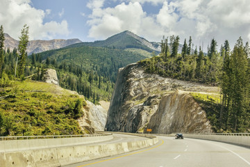The trans-canada highway cuts through the Rocky Mountains near Golden; British Columbia, Canada