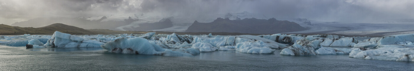 Stitched panoramic image of the Jokulsarlon glacial lagoon along the Southern coast of Iceland; Iceland