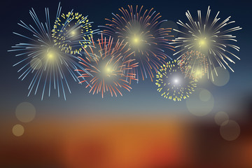 Brightly Colorful Fireworks on night background