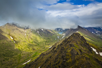 Long Lake and Campbell Creek Canyon viewed from Wolverine Peak, Chugach State Park; Alaska, United States of America
