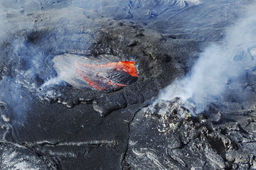 Aerial view of lava in an active volcano; Hawaii Volcanoes National Park; Island of Hawaii, Hawaii, United States of America