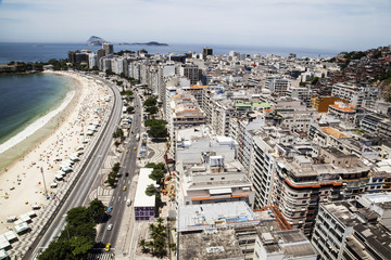 The view of Copacabana beach from above looking towards Ipanema; Rio de Janeiro, Brazil