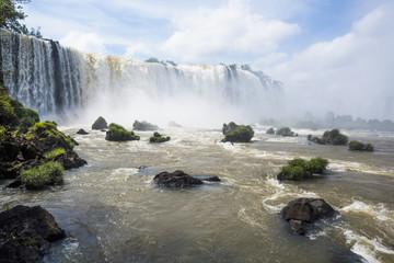 Grassy rocks at foot of Iguazu Falls; Parana, Brazil