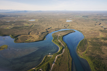 Aerial view of Naknek River, Southwest Alaska