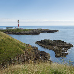 Buchan Ness Lighthouse on Moray Firth Coast; Aberdeenshire, Scotland