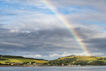 Rainbow in the sky over Chanonry Point; Moray Firth, Scotland