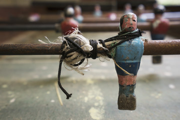 Close up of an old foozball table; Bolivia