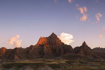 Cedar Pass at sunrise, Badlands National Park; South Dakota, United States of America