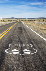 Route 66 logo painted on the highway; Arizona, United States of America