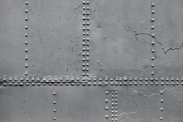 Old ship hull fragment, gray metal wall