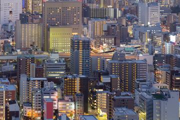 City of Osaka business building downtown close up, Japan