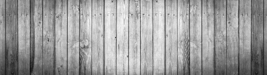 Panorama, old black and white wooden background, painted wood texture