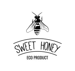 Bee Honey Label in Vintage Style. Vector illustration isolated on white