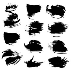 Abstract black textured strokes set isolated on white background