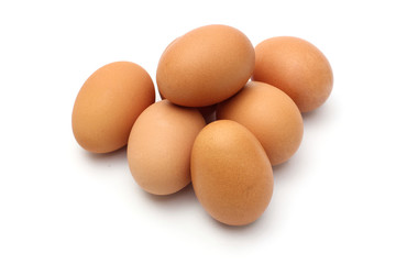 Fresh eggs in white background