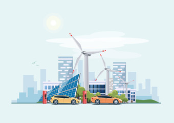 Electric cars charging eco city urban theme